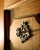 AUSTRIA, Bernstein, detail of a door fixture at the Burg Bernstein Castle and Hotel, Burgenland