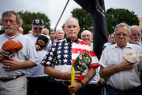 War veterans line up for a moment of prayer remembering those lost in US wars at a Tea Party Express rally at Indian Spring Park in Waco, Texas, Thursday, September 3, 2009. The Tea Party Express is heading to Washington, DC where it will hold a final rally against higher government spending, higher taxes, and President Obama's push to reform health care...MATT NAGER/ SPECIAL CONTRIBUTOR