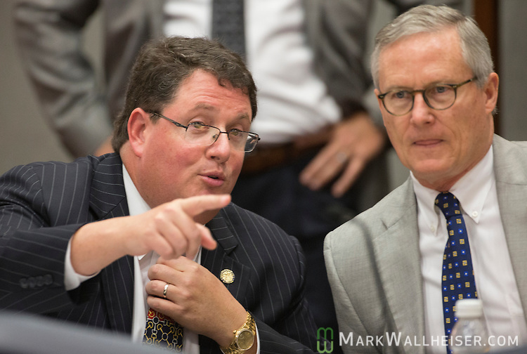 "Representative Randy Fine, R-Palm Bay, left, talks with Representative Charles Wesley ""Chuck"" Clemons, Sr. during the Public Integrity & Ethics committee meetings in the House Office building at the Florida Capitol in Tallahassee, Florida."