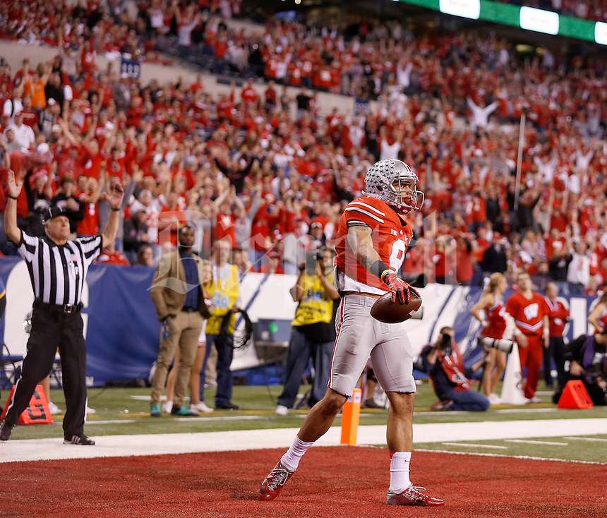 Ohio State Buckeyes wide receiver Devin Smith (9) celebrates his touchdown in the second quarter of the Big Ten Championship game at Lucas Oil Stadium in Indianapolis on Saturday, December 6, 2014. (Columbus Dispatch photo by Jonathan Quilter)