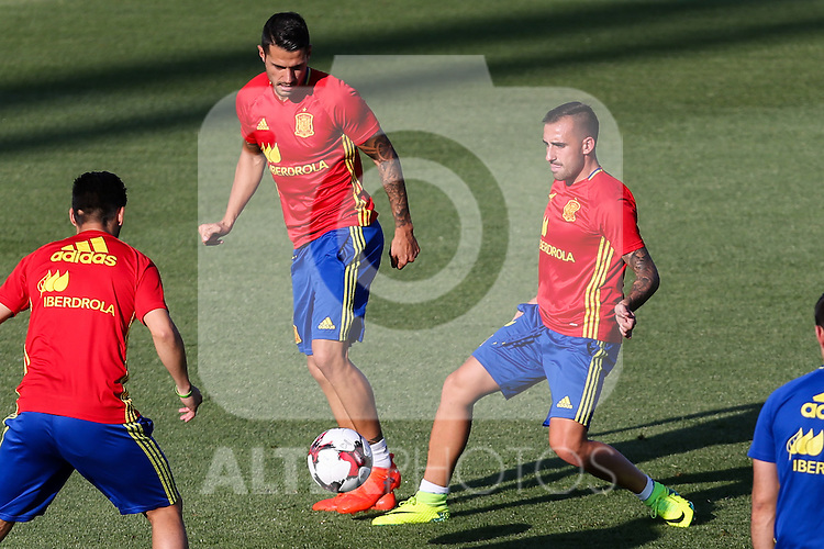 Spanish player Paco Alcacer and Vitolo durign the first training of the concentration of Spanish football team at Ciudad del Futbol de Las Rozas before the qualifying for the Russia world cup in 2017 August 29, 2016. (ALTERPHOTOS/Rodrigo Jimenez)