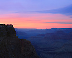A Plateau And Cliff In Silhouette At Sunset In Grand Canyon National Park, Arizona, East Rim View, USA