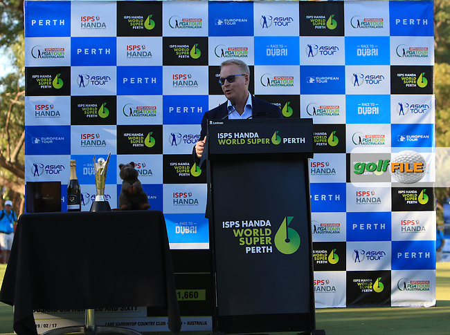 Keith Pelley (Chief Executive European Tour) during the presentation ceremony of the ISPS Handa World Super 6 Perth on Sunday 19th February 2017.<br /> Picture:  Thos Caffrey / Golffile<br /> <br /> All photo usage must carry mandatory copyright credit     (&copy; Golffile | Thos Caffrey)