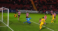 Northampton Town's Kevin van Veen scores his side's second goal<br /> <br /> Photographer Chris Vaughan/CameraSport<br /> <br /> Emirates FA Cup First Round - Lincoln City v Northampton Town - Saturday 10th November 2018 - Sincil Bank - Lincoln<br />  <br /> World Copyright © 2018 CameraSport. All rights reserved. 43 Linden Ave. Countesthorpe. Leicester. England. LE8 5PG - Tel: +44 (0) 116 277 4147 - admin@camerasport.com - www.camerasport.com