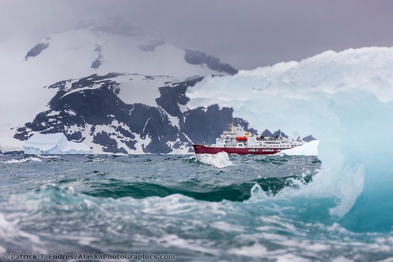 M/V Polar Star icebreaker and iceberg, Shingle Cove, Coronation Island, South Orkney Islands, Southern Ocean