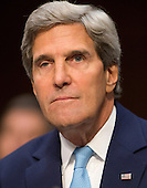 """United States Secretary of State John Kerry appears before the U.S. Senate Foreign Relations Committee to testify on """"Authorization of Use of Force in Syria""""  on Capitol Hill in Washington, D.C. on Tuesday, September 3, 2013.<br /> Credit: Ron Sachs / CNP"""