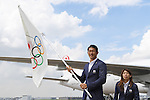 (L-R) Keisuke Ushiro, Saori Yoshida (JPN), <br /> AUGUST 24, 2016 : The Olympic flag welcoming ceremony at Haneda Airport in Tokyo, Japan. The Olympic flag was passed to new Tokyo governor Yuriko Koike from IOC President at the Rio de Janeiro 2016 Olympic Games closing ceremony on August 21. Tokyo will host the 2020 Olympic Games. (Photo by AFLO SPORT)