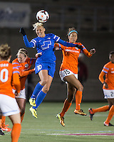 Boston, Mass., - April 20, 2014: The Houston Dash (orange/white) defeated Boston Breakers (blue), 3-2 in a National Women's Soccer League (NWSL) match at Harvard Stadium.