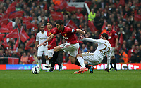 Pictured: (L-R) Michael Carrick, Angel Rangel.<br /> Sunday 12 May 2013<br /> Re: Barclay's Premier League, Manchester City FC v Swansea City FC at the Old Trafford Stadium, Manchester.