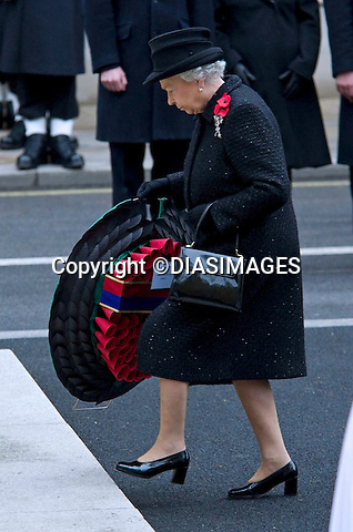 """THE QUEEN AT REMEMBRANCE SERVICE.Prince Philip, Prince Charles, Prince Andrew Prince Edward and Princess Anne joined the Queen at the Cenotaph, London for the annual Service of Remembrance_14/11/2010.Mandatory Photo Credit: ©Dias/DIASIMAGES..**ALL FEES PAYABLE TO: """"NEWSPIX INTERNATIONAL""""**..PHOTO CREDIT MANDATORY!!: DIASIMAGES(Failure to credit will incur a surcharge of 100% of reproduction fees)..IMMEDIATE CONFIRMATION OF USAGE REQUIRED:.DiasImages, 31a Chinnery Hill, Bishop's Stortford, ENGLAND CM23 3PS.Tel:+441279 324672  ; Fax: +441279656877.Mobile:  0777568 1153.e-mail: info@diasimages.com"""