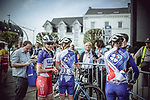 Groupama-FDJ team at sign on before the 2018 Liege-Bastogne-Liege Femmes running 136km from Bastogne to Ans, Belgium. 22nd April 2018.<br /> Picture: ASO/Thomas Maheux | Cyclefile<br /> All photos usage must carry mandatory copyright credit (&copy; Cyclefile | ASO/Thomas Maheux)