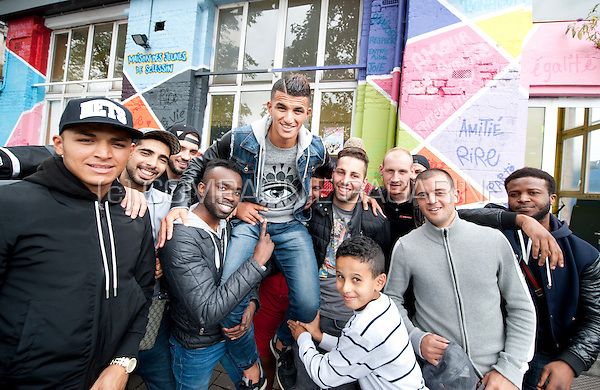 Belgian-Moroccan football player Yahya Boumediene pictured in the area of Sclessin where he grew up and started to play football (Belgium, 08/09/2015)