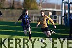 In Action Inter's Matt Crowley Holland and Galaxy's Aiden Breen  at the Denny Premier 'B' League match  Ballymac Galaxy  V  Inter Kenmare at Mounthawk park on Sunday
