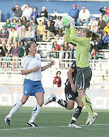 Abby Wambach #20 of the Washington Freedom loses the ball to goalie Ashley Phillips #24 of the Boston Breakers during a WPS match on May 8 2010, at the Maryland Soccerplex, in Boyds, Maryland. The game ended in a 0-0 tie.