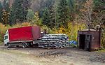 Wypalanie węgla drzewnego w Bieszczadach w okolicach Łopieńki.