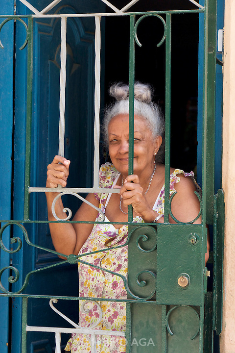 Havana, Cuba. Central Habana. A friendly elderly lady.