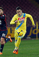 Jose Callejon   in action during the Italian Serie A soccer match between SSC Napoli and Genoa CFC   at San Paolo stadium in Naples, February 24 , 2014