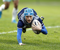 Joe Cullen dives over for a try for Oxford during the Pcubed Rugby League Varsity game between Oxford and Cambridge University at the HAC Ground, London, on Fri March 3, 2017