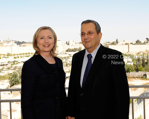 Minister of Defense and Deputy Prime Minister Ehud Barak of Israel, right, meets with United States Secretary of State Hillary Rodham Clinton, left, at the David Citadel Hotel in Jerusalem, Israel, on Wednesday, September 15, 2010. .Credit: Department of State via CNP.