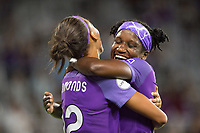 Orlando, FL - Saturday July 15, 2017: Kristen Edmonds, Jasmyne Spencer celebrates a goal during a regular season National Women's Soccer League (NWSL) match between the Orlando Pride and FC Kansas City at Orlando City Stadium.