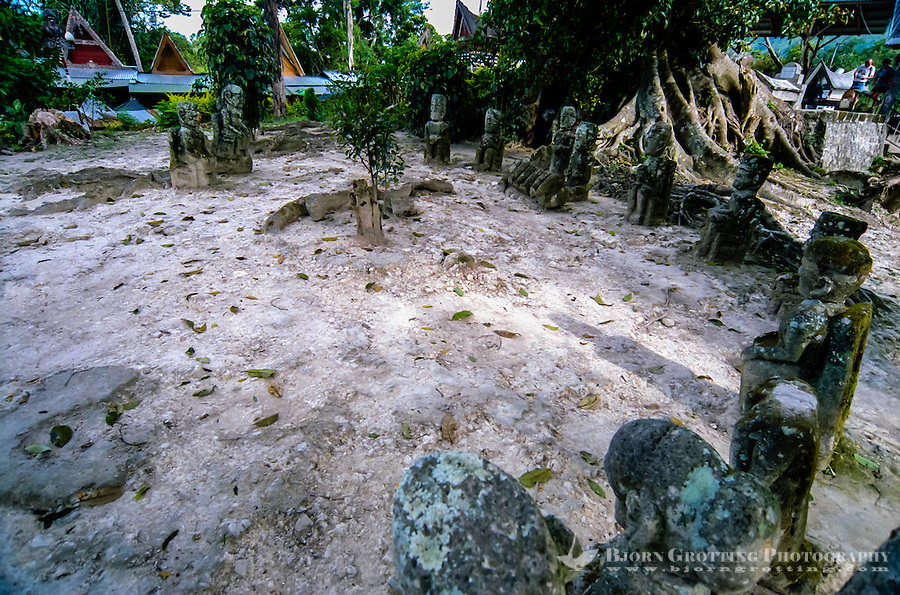 Indonesia, Sumatra. Samosir. Tomok, a circle of stone figures. These stone figures are close to the grave of King Sidabatu in Tomok.