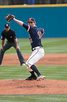 University of Virginia Cavaliers pitcher Tommy Doyle (16) pitching during a game against the University of Coastal Carolina Chanticleers at Springs Brooks Stadium on February 21, 2016 in Conway, South Carolina. Coastal Carolina defeated Virginia 5-4. (Robert Gurganus/Four Seam Images)