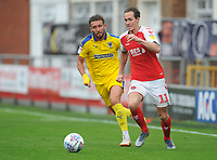 Fleetwood Town's Josh Morris under pressure from AFC Wimbledon's Luke O'Neill<br /> <br /> Photographer Kevin Barnes/CameraSport<br /> <br /> The EFL Sky Bet Championship - Fleetwood Town v AFC Wimbledon - Saturday 10th August 2019 - Highbury Stadium - Fleetwood<br /> <br /> World Copyright © 2019 CameraSport. All rights reserved. 43 Linden Ave. Countesthorpe. Leicester. England. LE8 5PG - Tel: +44 (0) 116 277 4147 - admin@camerasport.com - www.camerasport.com