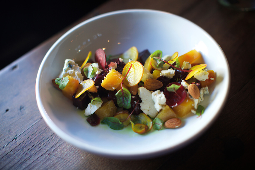 Jersey City, NJ - April 27, 2016: Beet Salad at Razza Pizza Artigianale, a brick oven pizzeria by chef Dan Richer in Jersey City.<br /> <br /> CREDIT: Clay Williams for Gothamist<br /> <br /> &copy; Clay Williams / claywilliamsphoto.com