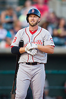 Stephen Drew (7) of the Greenville Drive steps up to the plate to hit against the Charleston RiverDogs at Joseph P. Riley, Jr. Park on May 26, 2014 in Charleston, South Carolina.  The Drive defeated the RiverDogs 11-3.  (Brian Westerholt/Four Seam Images)