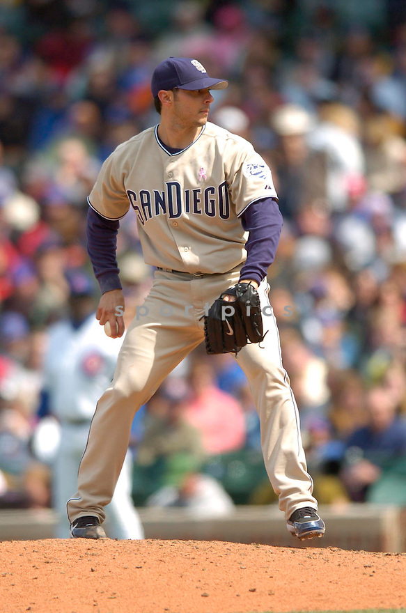 Clay Hensley, of the San Diego Padres, during their game againt the Chicago Cubs, on May 5, 2006 in Chicago...Padres win 9-0..David Durochik / SportPics.Clay Hensley, of the San Diego Padres, during their game againt the Chicago Cubs, on May 5, 2006 in Chicago...Padres win 9-0..David Durochik / SportPics