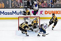 June 6, 2019: Boston Bruins goaltender Tuukka Rask (40) stops a shot by St. Louis Blues center Tyler Bozak (21) during game 5 of the NHL Stanley Cup Finals between the St Louis Blues and the Boston Bruins held at TD Garden, in Boston, Mass. The Blues defeat the Bruins 2-1 in regulation time. Eric Canha/CSM