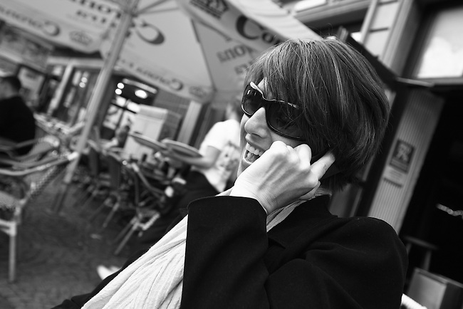 Dianna talks on her mobile phone in St. Martin's Square in Kaiserslautern, Germany. May 9, 2009.
