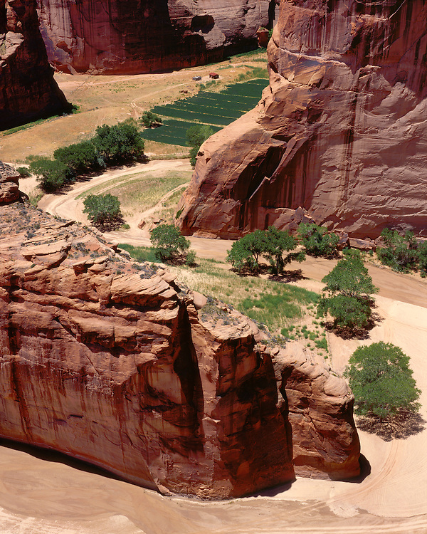 View of canyon floor from Antelope House Overlook; Canyon de Chelly National Monument, AZ