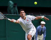England, London, 27.06.2014. Tennis, Wimbledon, AELTC, Novak Djokovic (SRB)<br /> Photo: Tennisimages/Henk Koster