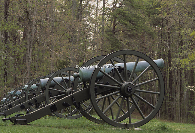 Civil War artillery site at Hazel Grove, Chancellorsville Battlefield, Fredericksburg and Spotsylvania National Military Park, Virginia, USA. Scene of fighting April 27 - May 6, 1863.