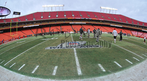 Jan 09, 2011; Kansas City, MO, USA; A general view of the AFC Wild Card official logo painted on the field prior to the 2011 AFC wild card playoff game between the Kansas City Chiefs and Baltimore Ravens at Arrowhead Stadium. Baltimore won 30-7. Mandatory Credit: Denny Medley-US PRESSWIRE