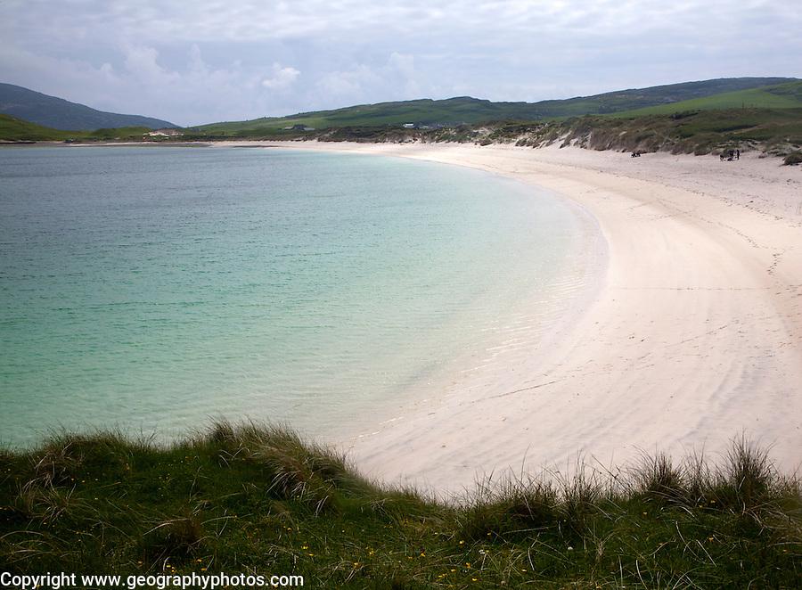 Sandy beach and aquamarine sea at Vatersay Bay, Barra, Outer Hebrides, Scotland, UK