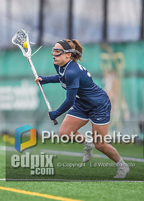 25 April 2015: University of New Hampshire Wildcat Defender Hope Kissick, a Sophomore from Cohasset, MA, in action against the University of Vermont Catamounts at Virtue Field in Burlington, Vermont. The Lady Catamounts defeated the Lady Wildcats 12-10 in the final game of the season, advancing to the America East playoffs. Mandatory Credit: Ed Wolfstein Photo *** RAW (NEF) Image File Available ***