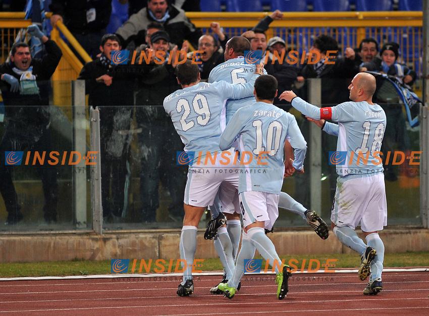 Esultanza dopo il gol di Mauri (Lazio)<br /> Roma 22-01-2009<br /> Stadio Olimpico quarti di finale di coppa italia<br /> Lazio-Torino (3-1)<br /> Author Massimo Oliva/Inside