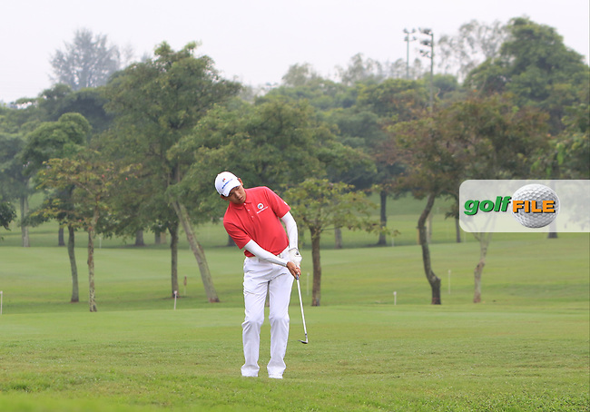 Phachara Khongwatmai (Asia) on the 1st fairway during the Friday Foursomes of the Eurasia Cup at Glenmarie Golf and Country Club on the 12th January 2018.<br /> Picture:  Thos Caffrey / www.golffile.ie