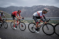 Fernando Gaviria (COL/UAE-Emirates) is one of the very last up the first categorised climb (out of 6) of the day: the Puerto de Bernardo<br /> <br /> Stage 20: Arenas de San Pedro to Plataforma de Gredos (190km)<br /> La Vuelta 2019<br /> <br /> ©kramon