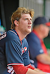 3 September 2012: Washington Nationals pitcher Ross Detwiler watches play from the dugout during a game against the Chicago Cubs at Nationals Park in Washington, DC. The Nationals edged out the visiting Cubs 2-1, in the first game of heir 4-game series. Mandatory Credit: Ed Wolfstein Photo