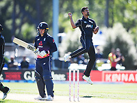 Ish Sodhi celebrates the dismissal of Roy.<br /> New Zealand Black Caps v England, ODI series, University Oval in Dunedin, New Zealand. Wednesday 7 March 2018. &copy; Copyright Photo: Andrew Cornaga / www.Photosport.nz