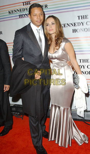 TERRENCE HOWARD & ZULAY HENAO.30th Kennedy Center Honors Recipients honored for lifetime achievement in the performing arts held at the Kennedy Center for the Performing Arts,.Washington, D.C. USA,.02 December 2007..full length grey suit silver dress.CAP/ADM/GS.©George Shepherd/AdMedia/Capital Pictures.