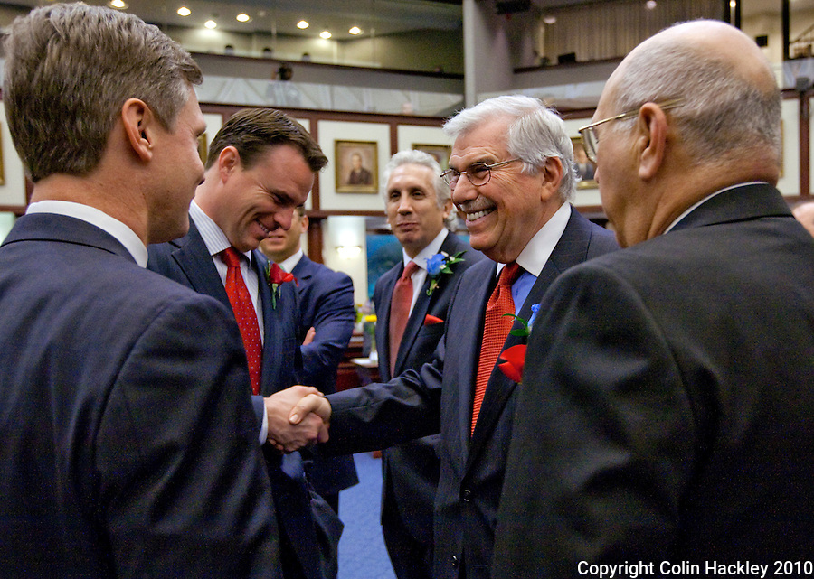 TALLAHASSEE, FLA. 3/2/10-OPENING DAY CH28-House Democratic Leader Franklin Sands, D-Weston, right, greets Rep. Will Weatherford, R-Wesley Chapel, second from left, Rep. Dean Cannon, R-Winter Park, Rep. Rich Glorioso, R-Plant City, right as Rep. Jim Waldman, D-Coconut Creek, watches during the opening day of the legislative session, Tuesday at the Capitol in Tallahassee...COLIN HACKLEY PHOTO