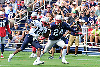 August 2, 2017: New England Patriots cornerback Stephon Gilmore (24) covers wide receiver Brandon Cooks (14) at the New England Patriots training camp held at Gillette Stadium, in Foxborough, Massachusetts. Eric Canha/CSM