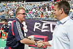 11 July 2009: New England head coach Steve Nicol (left) and Kansas City head coach Curt Onalfo (right) shake hands before the game. The New England Revolution played the Kansas City Wizards at Gillette Stadium in Foxboro, Massachusetts in a regular season Major League Soccer game.