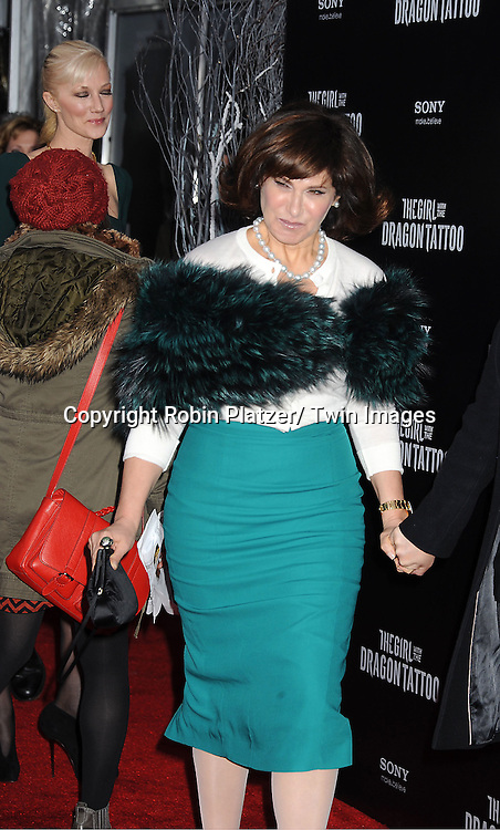 """Amy Pascal attends the New York Premiere of """"The Girl With The Dragon Tattoo"""" on December 14, 2011 at The Ziegfeld Theatre in New York City. The movie stars Daniel Craig, .Rooney Mara, Christopher Plummer, Stellan Skarsgard, Robin Wright and Joely Richardson."""
