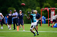 August 7, 2017: Jacksonville Jaguars wide receiver Dede Westbrook (12) makes a catch during a joint practice at New England Patriots training camp where they hosted the Jacksonville Jaguars on the practice fields at Gillette Stadium, in Foxborough, Massachusetts. Eric Canha/CSM