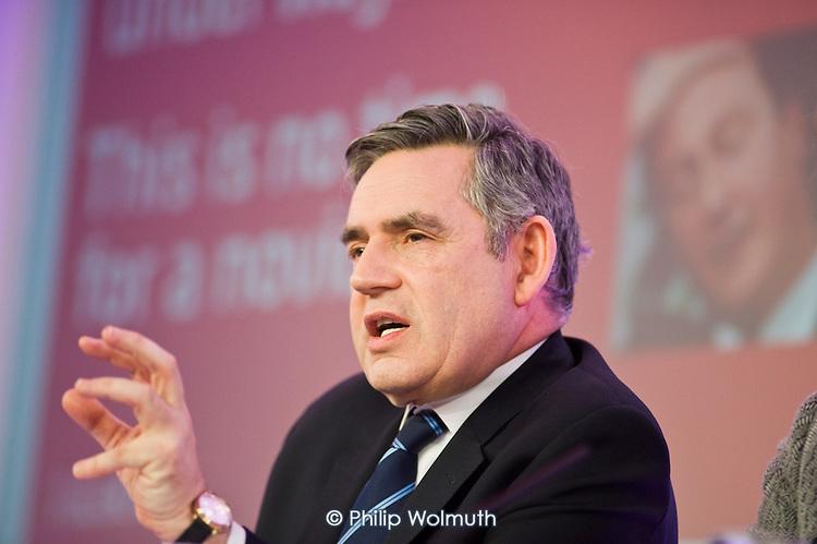 Prime Minister Gordon Brown, Labour Party election campaign press conference, London.